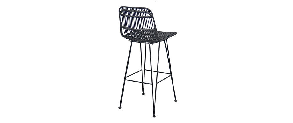(Set of 2) MALACCA natural rattan bar stools, painted black.