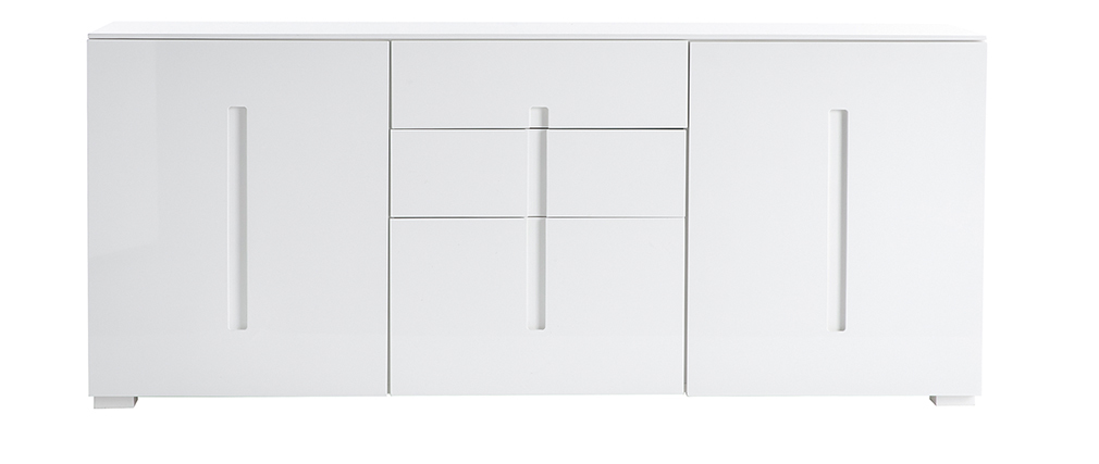 2-Door 3-Drawer Modern Sideboard TED ? Glossy White