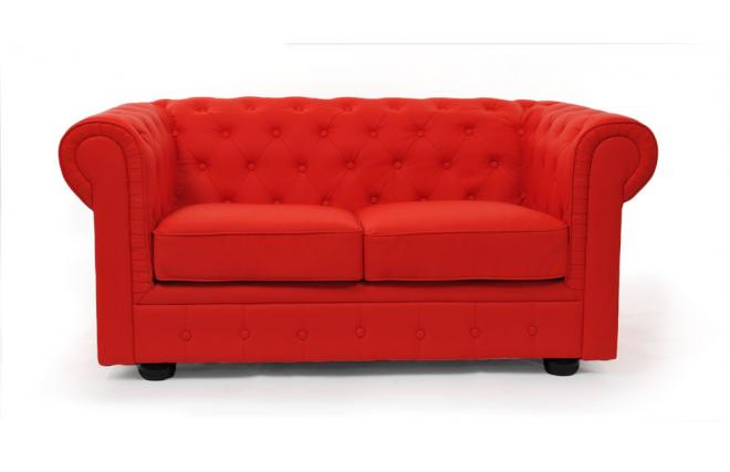 2 Seater Chesterfield Sofa Red Miliboo