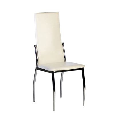 4 Off White modern kitchen / dining chairs BERLIN image 1