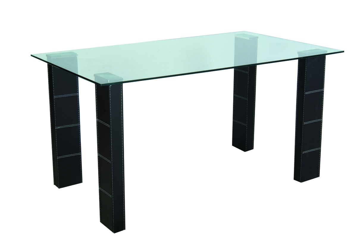 Abby rectangular dining kitchen table pvc and tempered for Tempered glass dining table