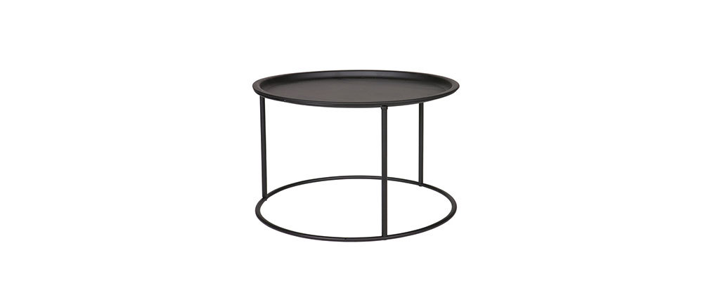 ABEL 56cm round side table in black metal