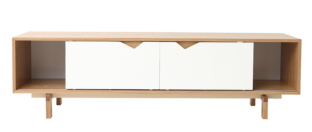 ACOUSTIC Scandinavian modulable white and oak TV stand