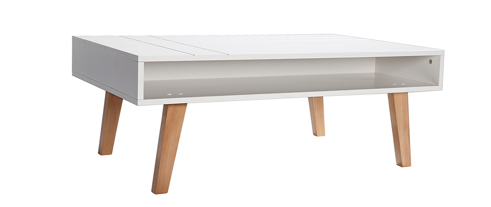 ADORNA Matte White and Wood Modern Coffee Table