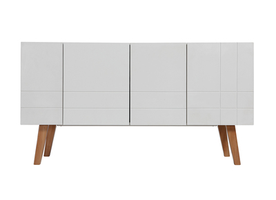ADORNA Matte White and Wood Modern Sideboard