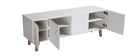 ADORNA Matte White and Wood Modern TV Stand
