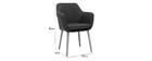 ALEYNA Scandinavian armchair in dark grey with oak legs