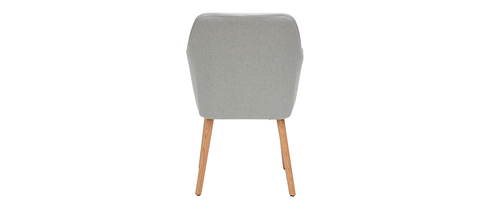 ALEYNA Scandinavian armchair in light grey with oak legs