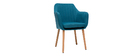 ALEYNA Scandinavian armchair in teal with oak legs