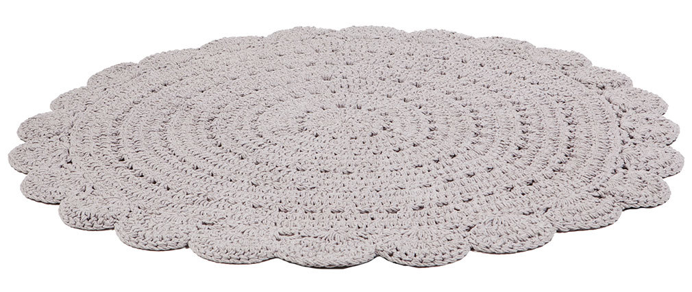 ALMA round light grey crocheted rug 120cm