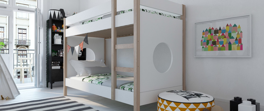 ALTO light wood and white children?s bunk bed with removable panels.