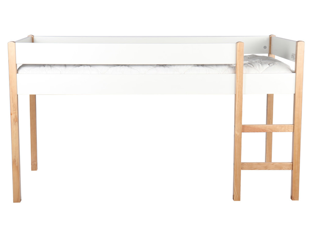 ALTO light wood and white mezzanine children's bed with removable panels.