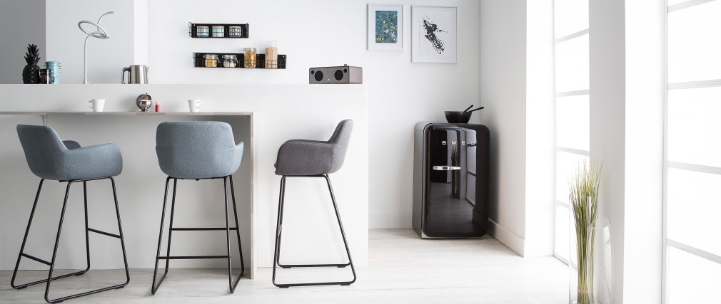 AMICA set of 2 bar stools in light grey fabric H75cm