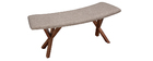 ANIK vintage designer walnut and grey fabric bench