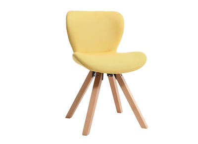 ANYA Scandinavian chair yellow fabric light wooden legs