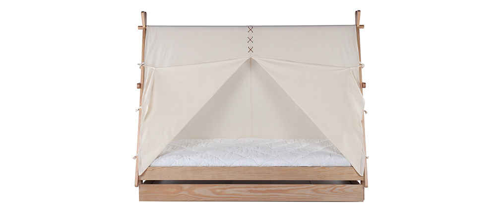 APACHE wood and natural cotton children?s teepee bed with storage