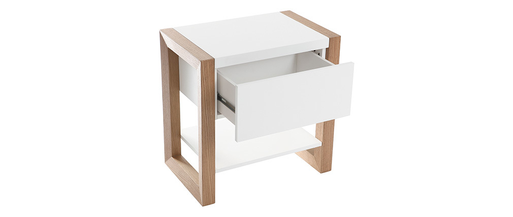 ARMEL White and Oak Bedside Table