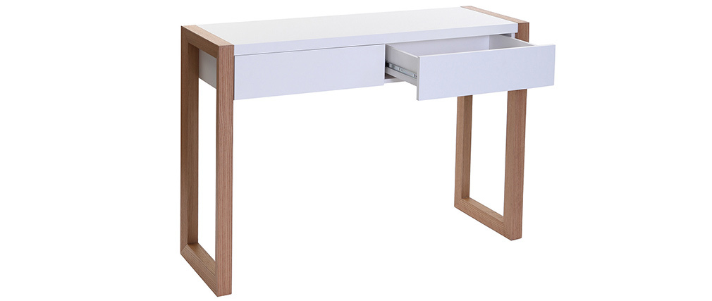 ARMEL White and Oak Modern Console Table 120cm