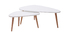 ARTIK set of 2 white and light wooden nesting coffee tables