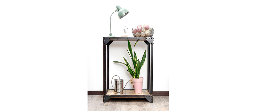 ATELIER Industrial Metal and Wood Console Table