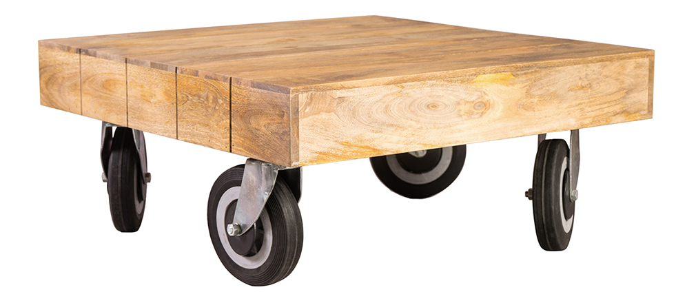 ATELIER Industrial Squared Coffee Table with Castors