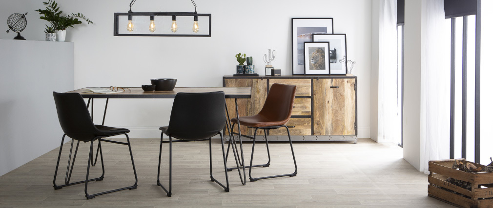 ATELIER industrial wood and metal dining table L160