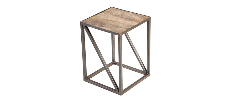 ATELIER Industrial Wood and Metal Side Table
