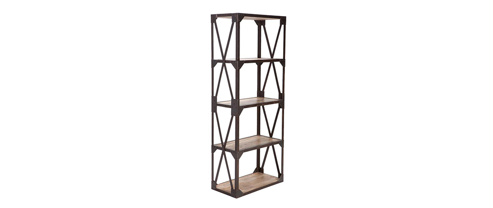 ATELIER Industrial Wood and Metal Small Shelving Unit