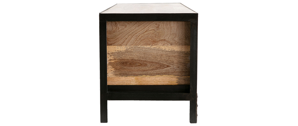 ATELIER Solid Wood and Metal Industrial Chest of Drawers/Shoe Cabinet