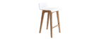 BALTIK Scandinavian wooden bar chair - 65cm - white and beech