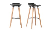 Bar stool design black scandinavian style set of 2 GILDA
