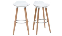 Bar stool design white scandinavian style set of 2 GILDA