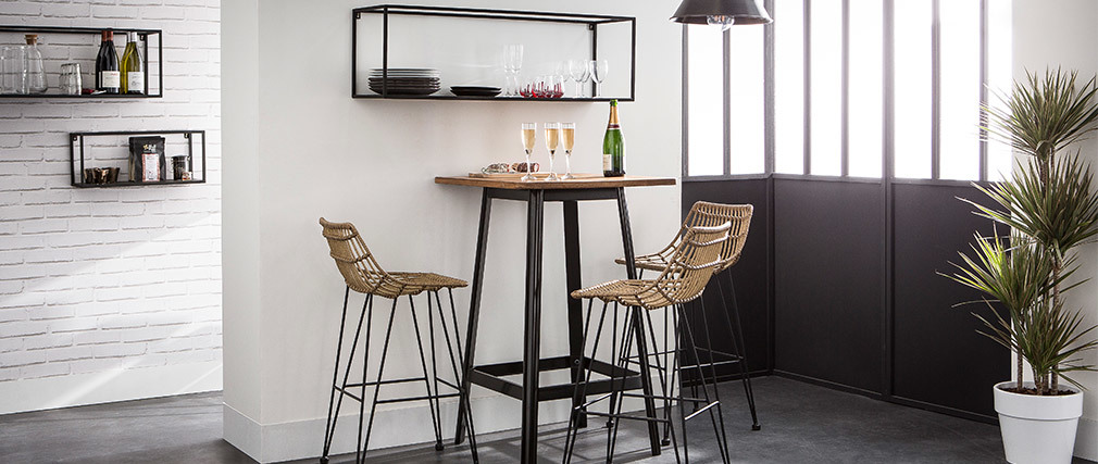 Bar stool rattan effect resin wire MAJA