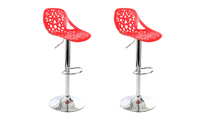 Bar stools design red set of 2 BAROCCA