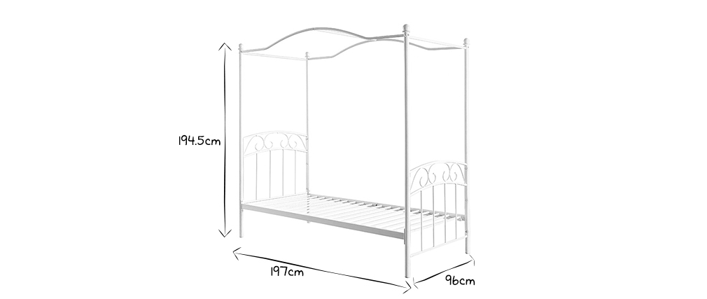 BECCA White Romantic Four Poster Bed