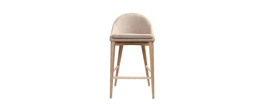 Beige Polyester and Wood Bar Stool DALIA