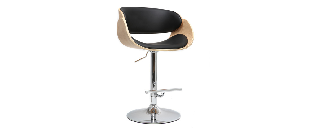 BENT Black and Light Wood Bar Stool