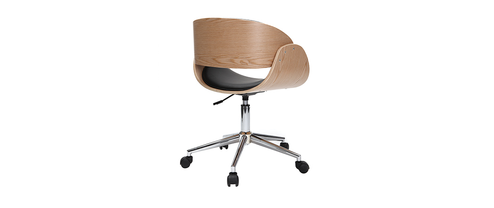 BENT Black and Light Wood Modern Chair with Casters