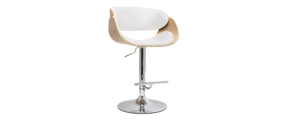 BENT White and Light Wood Bar Stool