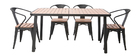 BERLINER garden set with 4 chairs and table in black metal and wood