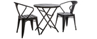 BERLINER garden set with chairs and folding table in black metal and wood
