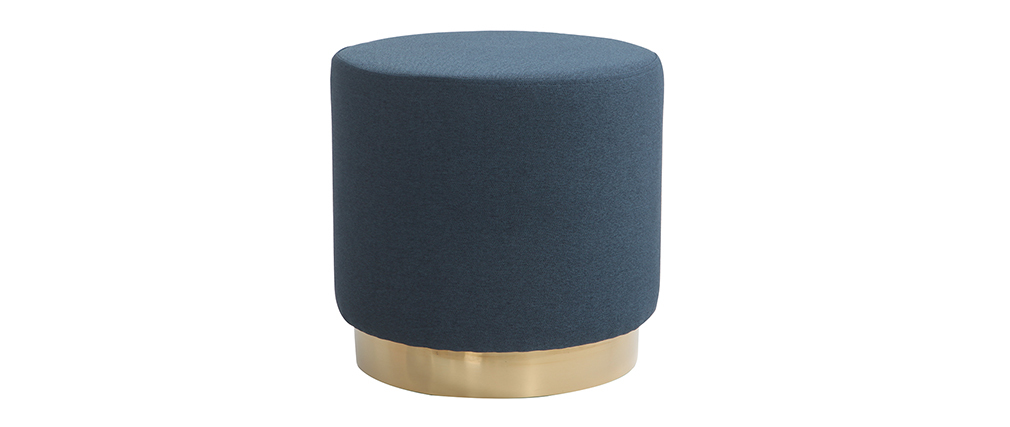 BETTY round blue fabric and gold metal footstool