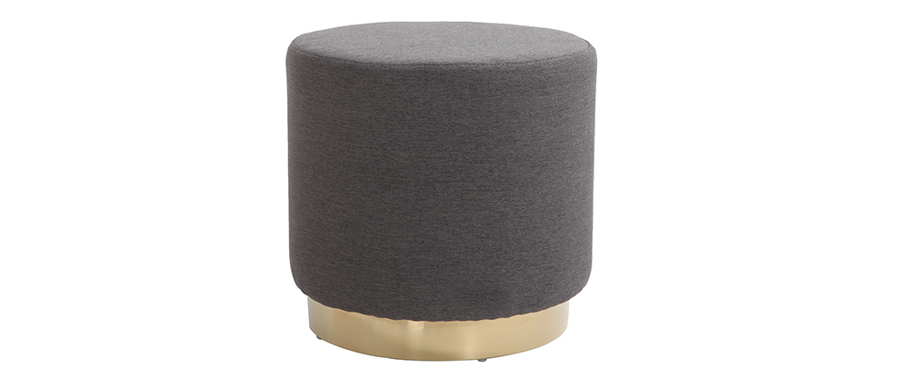 BETTY round grey and gold metal fabric footstool