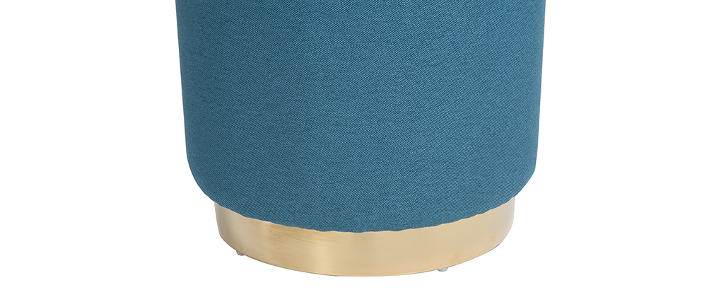 BETTY round teal fabric and gold metal footstool