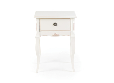 BIANCA White Wood Baroque Bedside Table