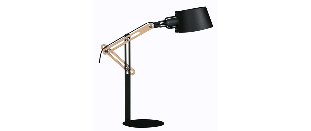 BILLY designer black metal table lamp