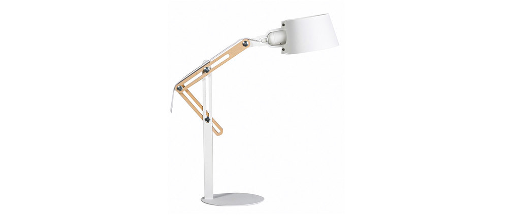 BILLY designer white metal table lamp
