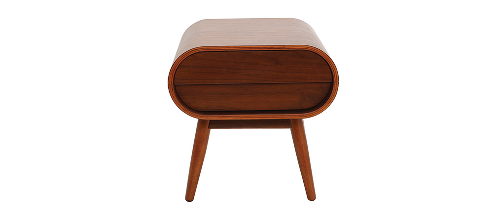 BJORG Walnut Modern Bedside Table 1 Drawer