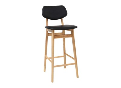 Black and Natural Wood Modern Bar Chair/ Stool 65 cm NORDECO