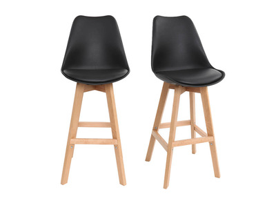 Black and Wood Modern Bar Stool PAULINE (set of 2)